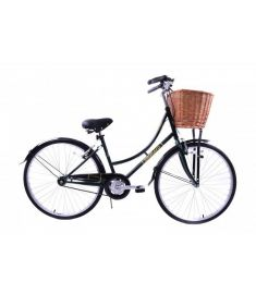 AMMACO HERITAGE DUTCH STYLE LADIES BIKE WICKER BASKET RACING GREEN