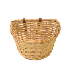 Wicker Front Basket & Straps 14""