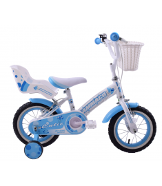 "Ammaco Cutie 14"" Wheel Girls Bike Blue & White"