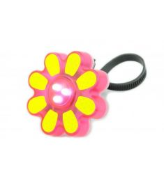 PINK FLOWER SHAPED 3 LED SAFTY REFLECTIVE FRONT GIRLS BICYCLE LIGHT