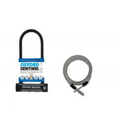 Oxford Sentinel Plus D-Lock & Lockmate12 Steel Cable Set