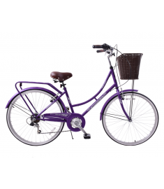 "Ammaco Classique 26"" Dutch Bike Purple & Rack 16"" Frame"